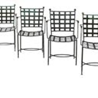 Suite of Six Polychromed Brass and Wrought Iron Garden Armchairs