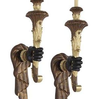 "Pair of Venetian-Style Ebonized and Parcel-Gilt ""Hand"" Sconces"