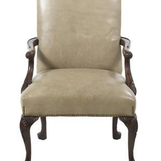 Georgian-Style Carved Mahogany and Leather-Covered Armchair