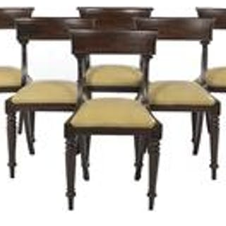 Suite of Eight Late Regency Mahogany Dining Chairs