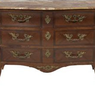 Regence-Style Mahogany and Marble-Top Commode