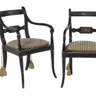 Pair of Regency Polychrome Armchairs