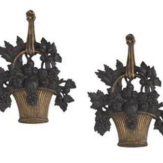 Pair of Louis XVI-Style Molded Plaster Appliques