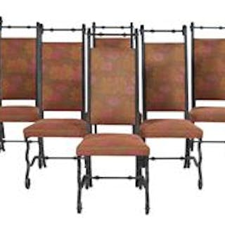 Suite of Eight Italian-Style Wrought Iron Dining Chairs