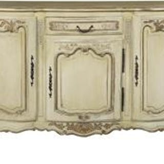 Louis XV-Style Painted and Parcel-Gilt Buffet