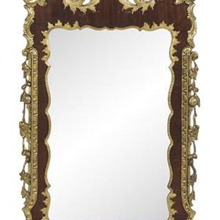 George II-Style Mahogany and Parcel-Gilt Mirror