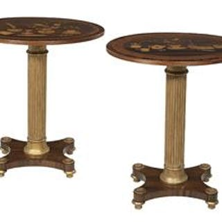 Pair of Neoclassical-Style Rosewood and Exotic Woods Occasional Tables