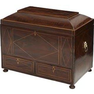 Handsome Regency Inlaid Mahogany Work Box