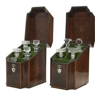 Pair of English Hepplewhite Inlaid Mahogany Knife Boxes
