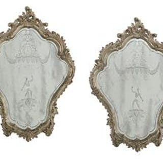 Pair of Venetian Rococo-Style Silver-Gilt and Engraved Glass Mirrors