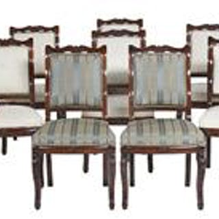 Suite of Fourteen Restauration-Style Mahogany Dining Chairs