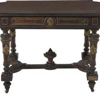 Napoleon III Parcel-Gilt and Ebonized Walnut Center Table