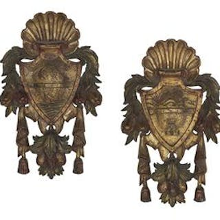 Pair of Italian Carved, Parcel-Gilt and Painted Armorial Plaques