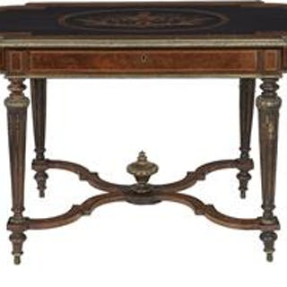 Victorian Bronze-Mounted, Inlaid and Burled Maple Center Table