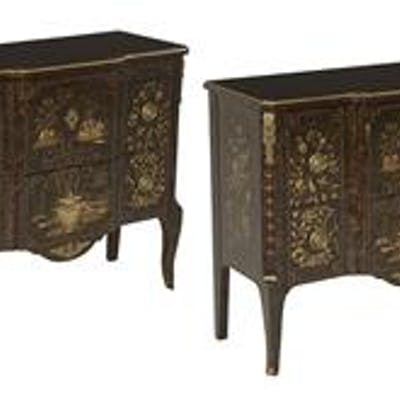 Pair of Chinoiserie-Decorated Louis XVI-Style Commodes