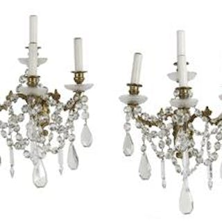 Pair of French Gilt-Bronze and Crystal Sconces