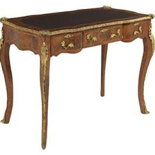 Louis XV-Style Burlwood and Mahogany Bureau Plat