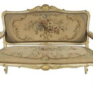Louis XV-Style Creme-Peinte and Parcel-Gilt Settee