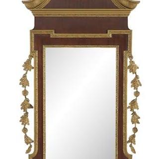 English Giltwood and Mahogany-Veneered Mirror