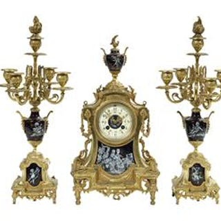 French Three-Piece Gilt-Bronze and Enamel Clock Set