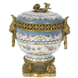 French Bronze-Mounted Sevres-Style Potpourri Urn