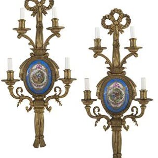 Pair of French Gilt-Bronze and Porcelain Sconces