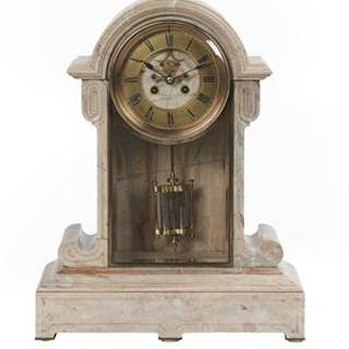 Unusual French Marble Mantel Clock