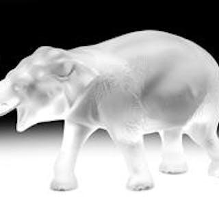 """Lalique Frosted Crystal """"Sumatra"""" Elephant"""