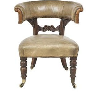 William IV Carved Mahogany and Leather-Covered Library Chair