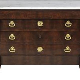 Empire Mahogany and Marble-Top Bronze Mounted Commode