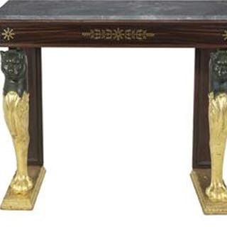 Regency Rosewood Parcel-Gilt and Marble-Top Side Table