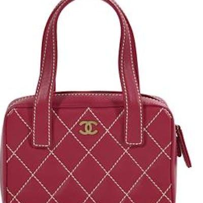 "Chanel, Paris, Small Pink Caviar Leather ""Surpique"" Zip-Around Satchel"