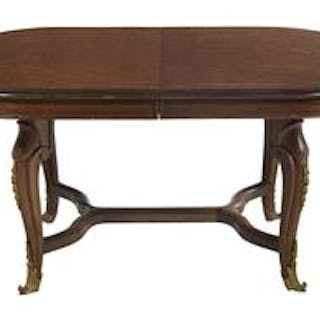 French Parquetry-Inlaid and Ormolu-Mounted Dining Table