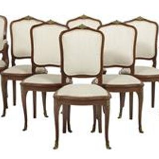 Suite of Eight Louis XV-Style Hardwood Chairs