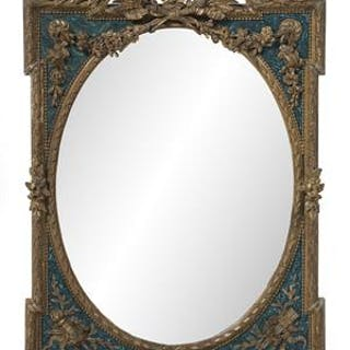 French Belle Epoque Giltwood and Faux Malachite Mirror
