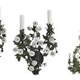 Italian Enameled Metal and Porcelain Chandelier with Matching Sconces