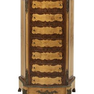 Napoleon III-Style Kingwood, Burl Elm and Marble-Top Lingerie Chest