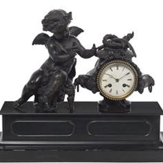 Handsome French Patinated Bronze and Marble Figural Mantel Clock