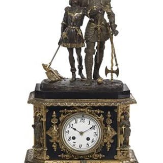 Louis-Philippe Gilt-Bronze and Marble Figural Clock