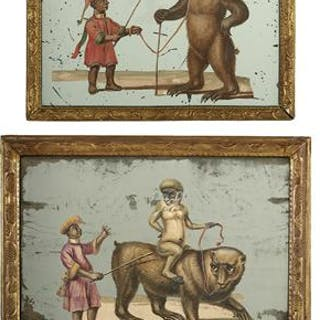 Two Exotic Hand-Colored and Mirrored Depictions of Animal Trainers