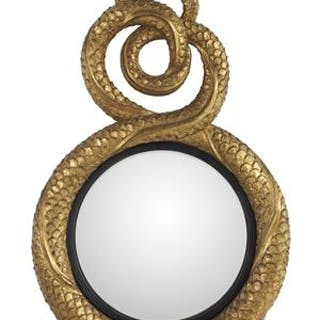 Regency-Style Gilded Composition Convex Mirror