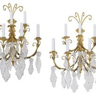 Pair of French Gilt-Bronze Sconces