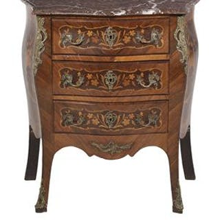 Regence-Style Marquetry-Inlaid Kingwood and Marble-Top Commode