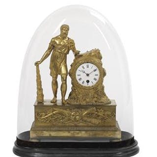 French Restauration Clock with Figure of Hercules