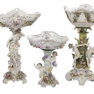"Collection of Three ""Dresden"" Porcelain Centerpieces"