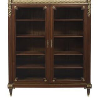 Louis XVI-Style Gilt-Bronze-Mounted Mahogany and Marble-Top Bookcase/Vitrine