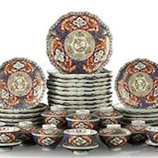 Large and Impressive Fifty-Five-Piece Set of Japanese Imari Dinnerware