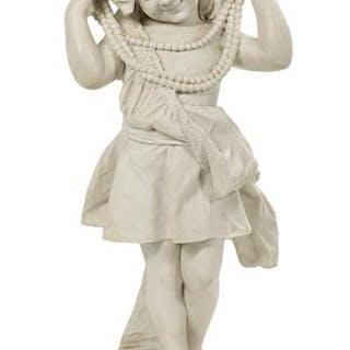 Victorian-Style Faux Marbre Figure of a Child