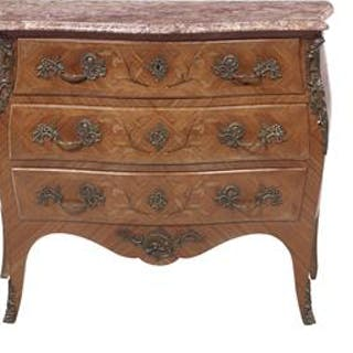 Louis XV-Style Marquetry-Inlaid Mahogany and Marble-Top Commode