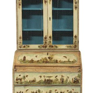 Italian-Style Chinoiserie-Decorated Secretary Bookcase